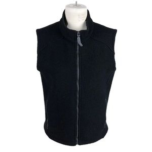 Ibex Black Medium Thick Boiled Wool Zip Up Vest